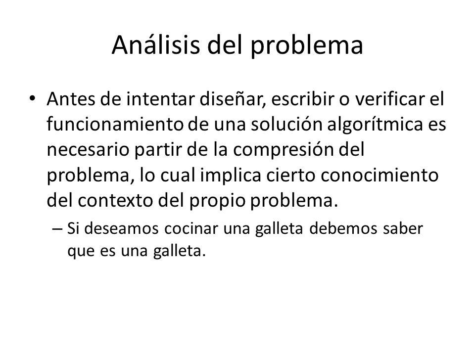 Análisis del problema Antes de intentar diseñar, escribir o verificar el funcionamiento de una solución algorítmica es necesario partir de la compresi
