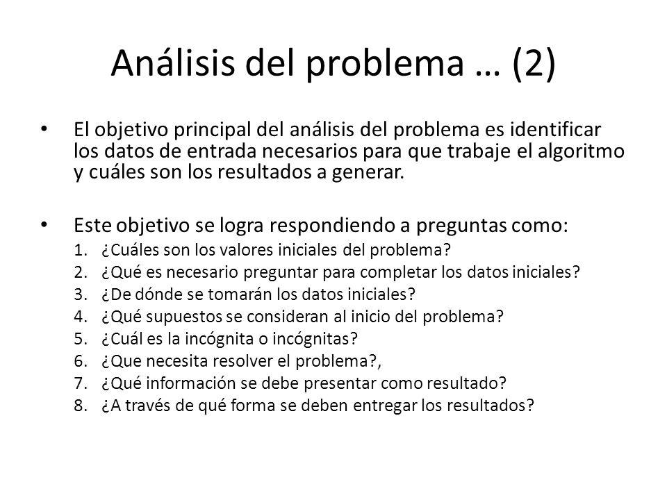 Análisis del problema … (2) El objetivo principal del análisis del problema es identificar los datos de entrada necesarios para que trabaje el algorit