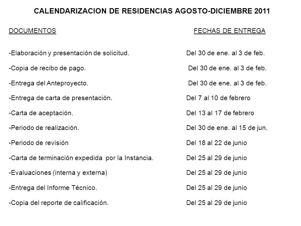 CALENDARIZACION DE RESIDENCIAS AGOSTO-DICIEMBRE 2011 DOCUMENTOS FECHAS DE ENTREGA -Elaboración y presentación de solicitud.Del 30 de ene. al 3 de feb.
