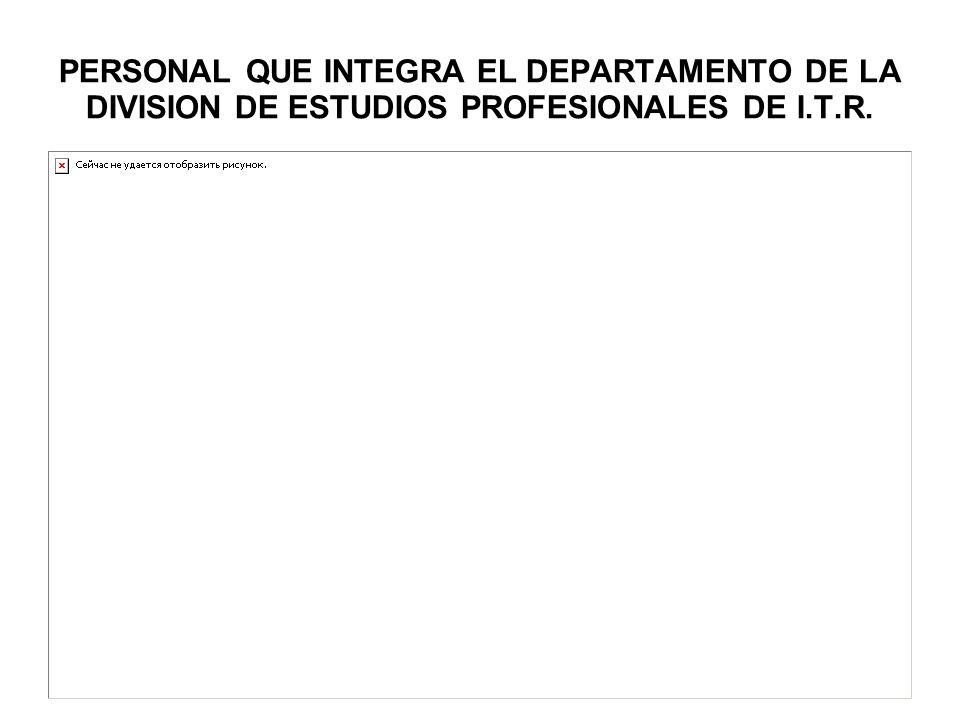 PERSONAL QUE INTEGRA EL DEPARTAMENTO DE LA DIVISION DE ESTUDIOS PROFESIONALES DE I.T.R.