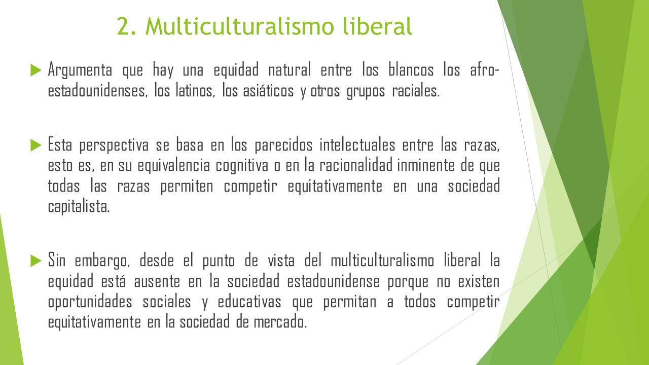 Enfatiza las diferencias culturales y sugiere que la atención de la equidad entre las razas suaviza las importantes diferencias culturales de las razas que son responsables de diferentes conductas, valores, actitudes y estilos cognitivos.
