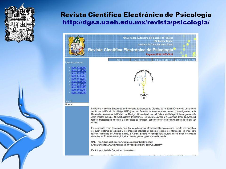 Revista Científica Electrónica de Psicología http://dgsa.uaeh.edu.mx/revista/psicologia/