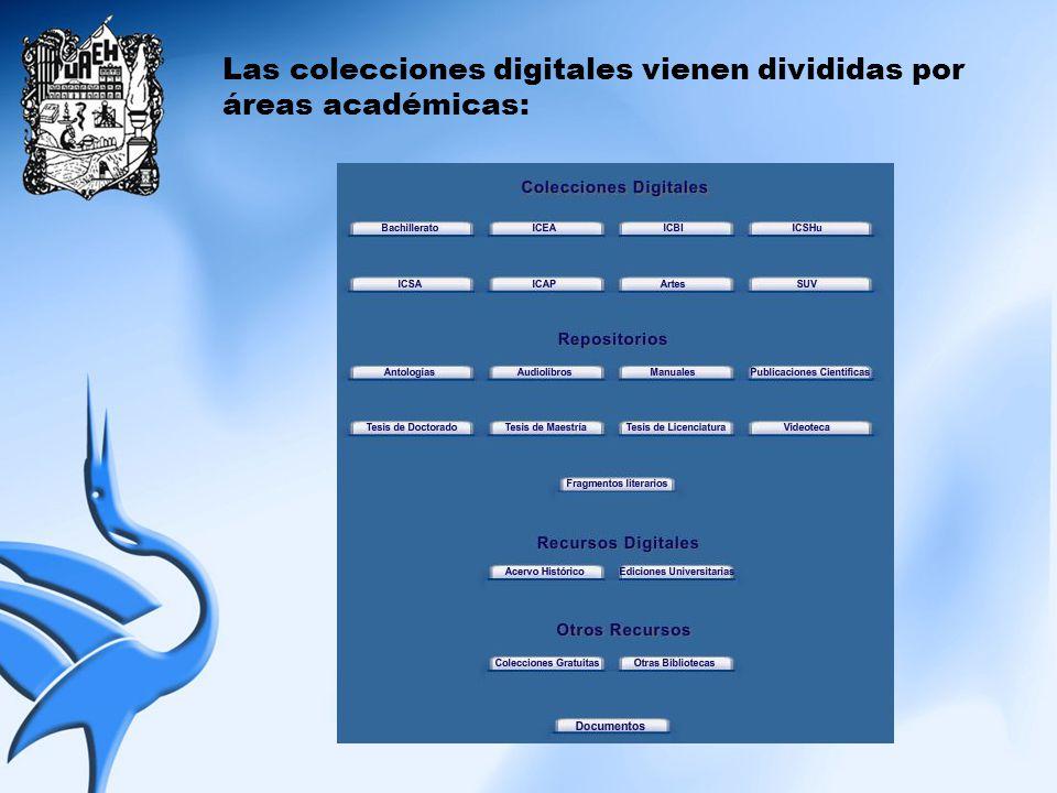 Las colecciones digitales vienen divididas por áreas académicas: