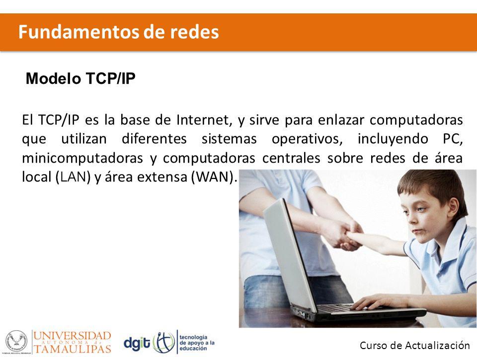Fundamentos de redes Curso de Actualización Modelo TCP/IP El TCP/IP es la base de Internet, y sirve para enlazar computadoras que utilizan diferentes