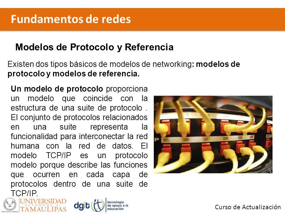 Fundamentos de redes Curso de Actualización Modelos de Protocolo y Referencia Un modelo de referencia proporciona una referencia común para mantener la consistencia dentro de todos los tipos de protocolos y servicios de red.