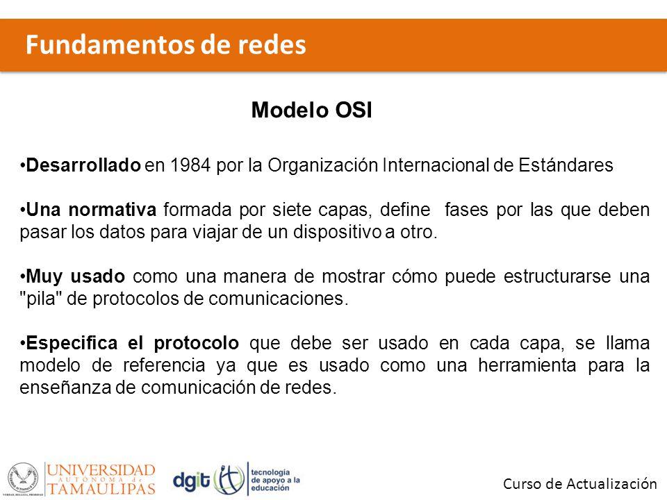 Fundamentos de redes Curso de Actualización Modelo OSI Desarrollado en 1984 por la Organización Internacional de Estándares Una normativa formada por