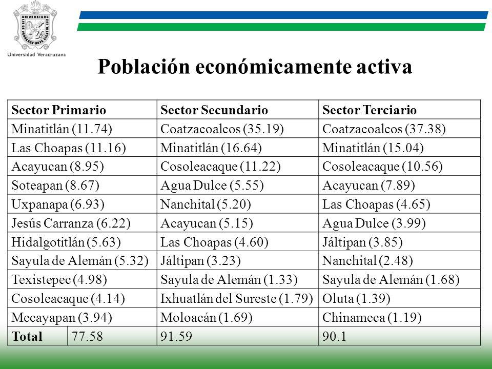 Sector PrimarioSector SecundarioSector Terciario Minatitlán (11.74)Coatzacoalcos (35.19)Coatzacoalcos (37.38) Las Choapas (11.16)Minatitlán (16.64)Min