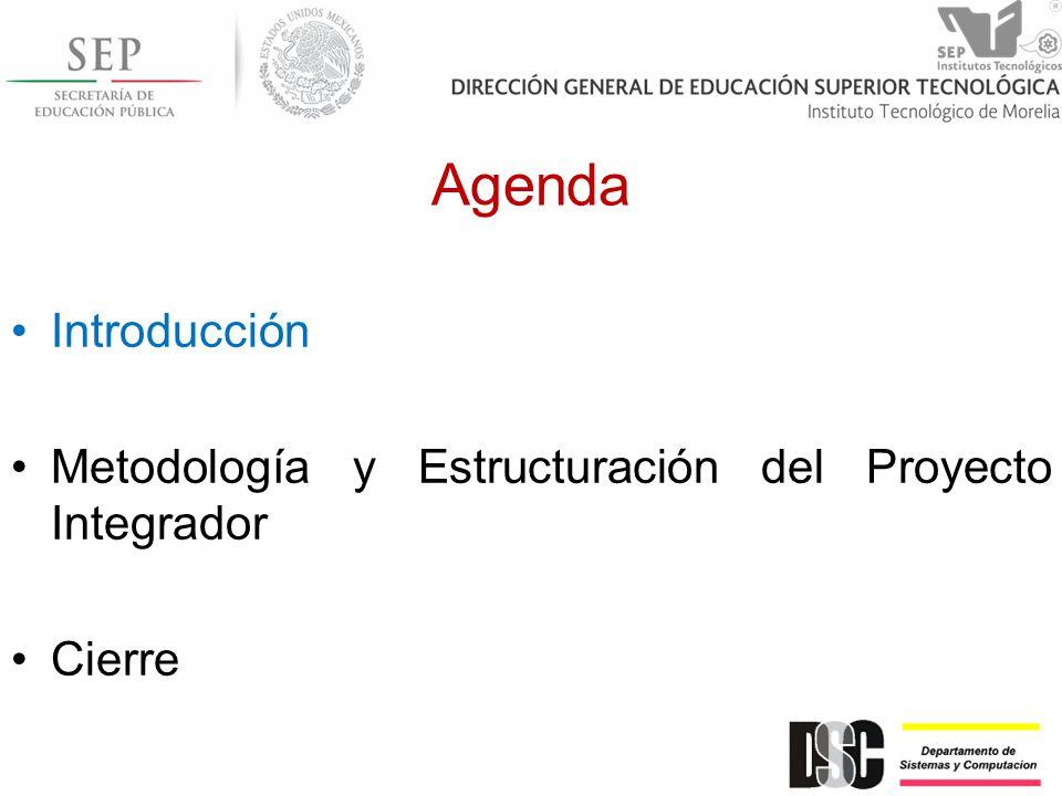 Agenda Introducción Metodología y Estructuración del Proyecto Integrador Cierre