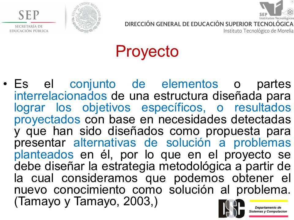 Proyecto Es el conjunto de elementos o partes interrelacionados de una estructura diseñada para lograr los objetivos específicos, o resultados proyect