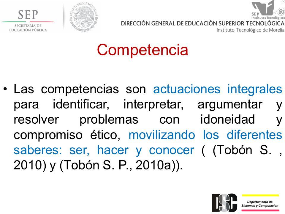 Competencia Las competencias son actuaciones integrales para identificar, interpretar, argumentar y resolver problemas con idoneidad y compromiso éti