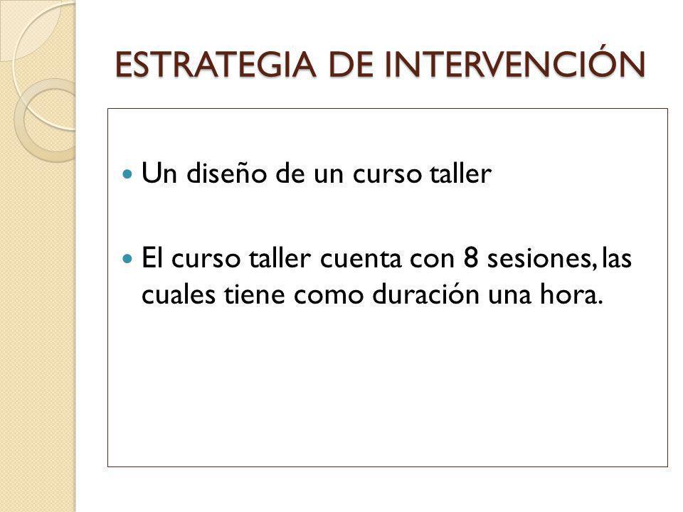 ESTRATEGIA DE INTERVENCIÓN Un diseño de un curso taller El curso taller cuenta con 8 sesiones, las cuales tiene como duración una hora.
