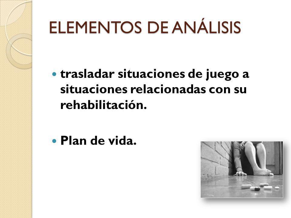 ELEMENTOS DE ANÁLISIS trasladar situaciones de juego a situaciones relacionadas con su rehabilitación.