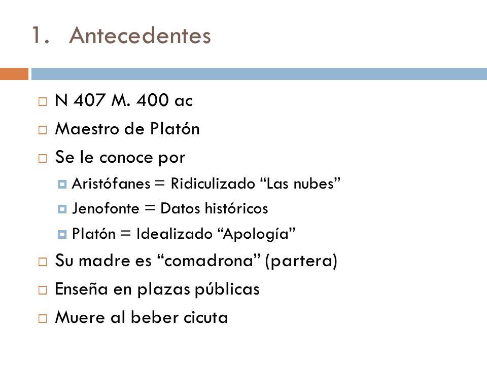 1.Antecedentes N 407 M. 400 ac Maestro de Platón Se le conoce por Aristófanes = Ridiculizado Las nubes Jenofonte = Datos históricos Platón = Idealizad