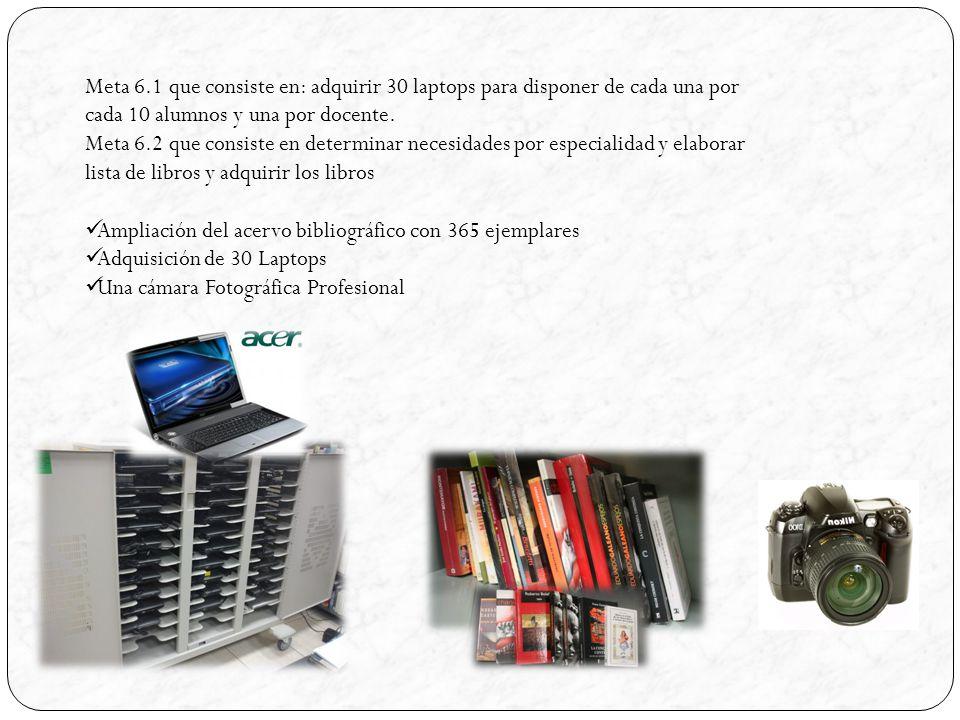 Meta 6.1 que consiste en: adquirir 30 laptops para disponer de cada una por cada 10 alumnos y una por docente.