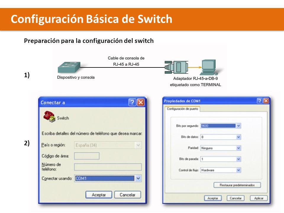 Configuración Básica de Switch Preparación para la configuración del switch 1) 2)