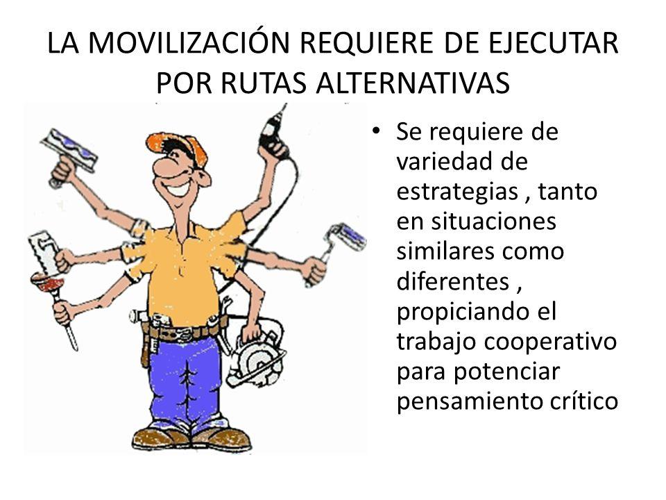 LA MOVILIZACIÓN REQUIERE DE EJECUTAR POR RUTAS ALTERNATIVAS Se requiere de variedad de estrategias, tanto en situaciones similares como diferentes, pr