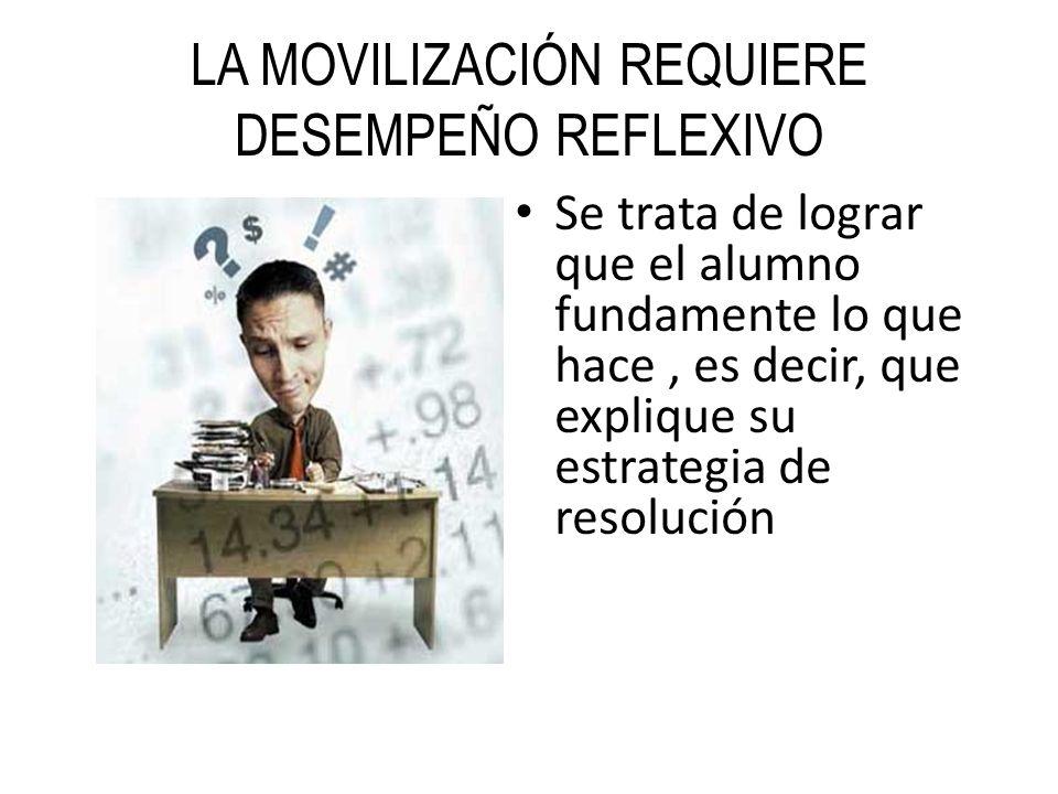 LA MOVILIZACIÓN REQUIERE DESEMPEÑO REFLEXIVO Se trata de lograr que el alumno fundamente lo que hace, es decir, que explique su estrategia de resoluci