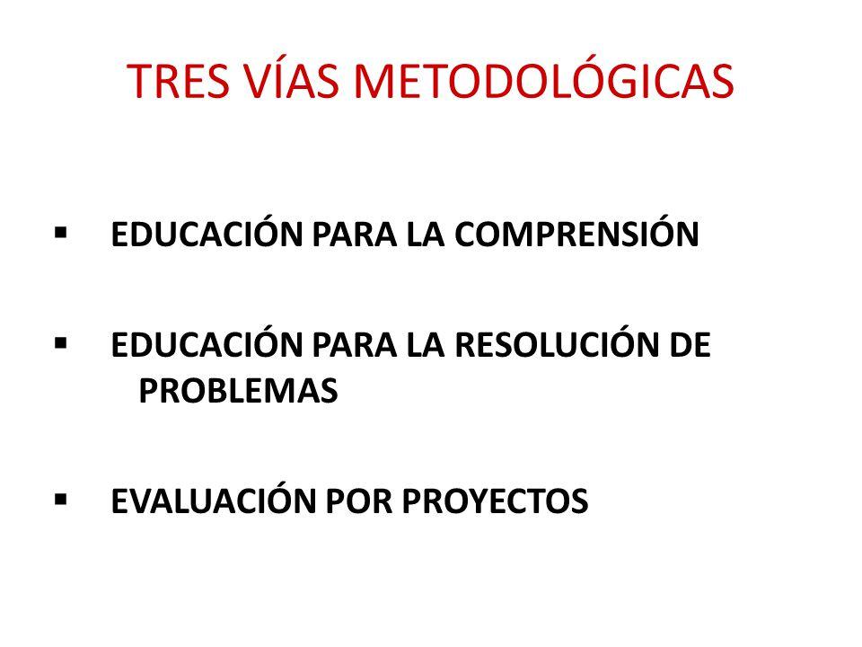 TRES VÍAS METODOLÓGICAS EDUCACIÓN PARA LA COMPRENSIÓN EDUCACIÓN PARA LA RESOLUCIÓN DE PROBLEMAS EVALUACIÓN POR PROYECTOS