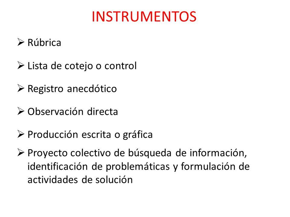 Rúbrica Lista de cotejo o control Registro anecdótico Observación directa Producción escrita o gráfica Proyecto colectivo de búsqueda de información,