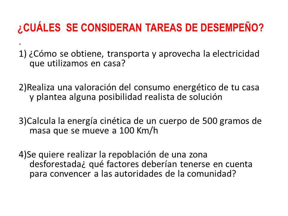 ¿CUÁLES SE CONSIDERAN TAREAS DE DESEMPEÑO?. 1) ¿Cómo se obtiene, transporta y aprovecha la electricidad que utilizamos en casa? 2)Realiza una valoraci