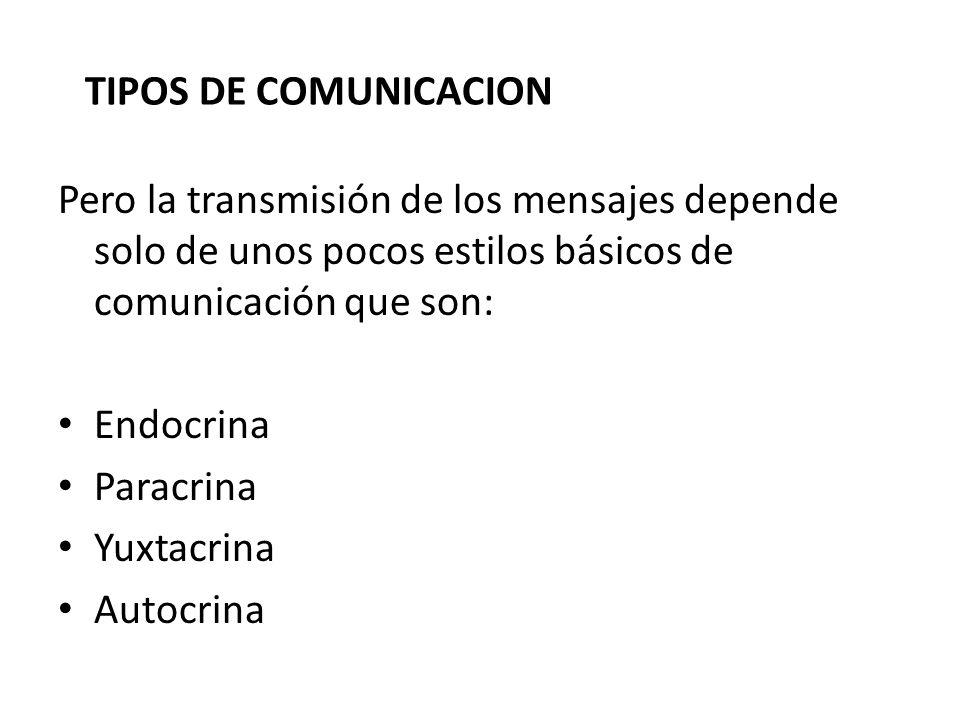 TIPOS DE COMUNICACION Pero la transmisión de los mensajes depende solo de unos pocos estilos básicos de comunicación que son: Endocrina Paracrina Yuxt
