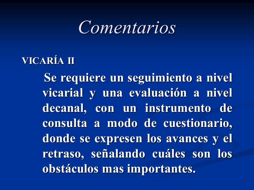 Comentarios VICARÍA II Se requiere un seguimiento a nivel vicarial y una evaluación a nivel decanal, con un instrumento de consulta a modo de cuestion
