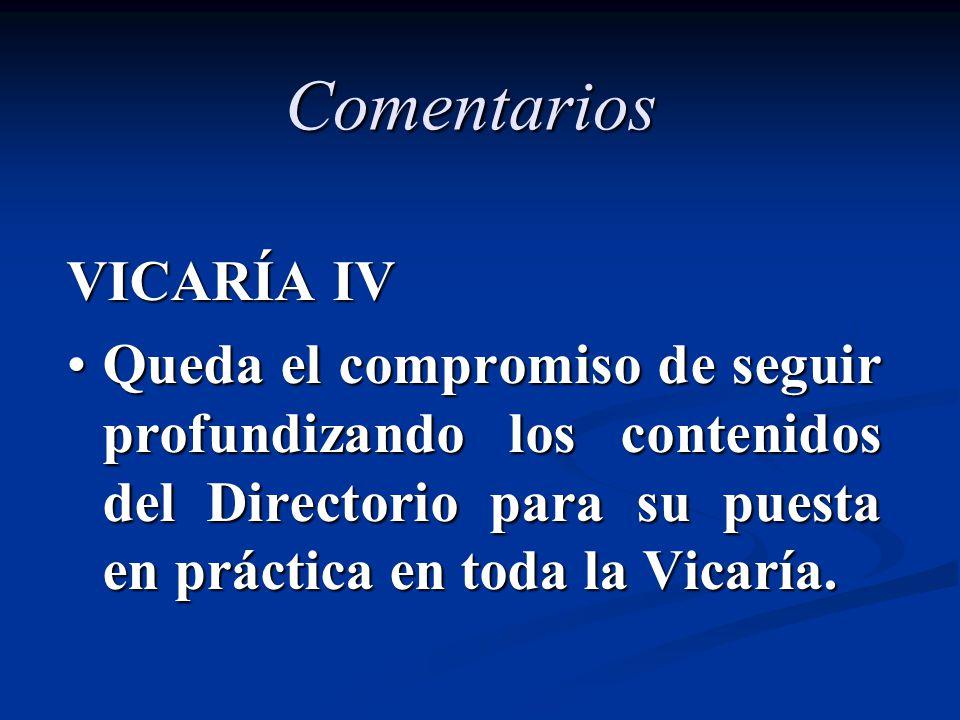 Comentarios VICARÍA IV Queda el compromiso de seguir profundizando los contenidos del Directorio para su puesta en práctica en toda la Vicaría.Queda e