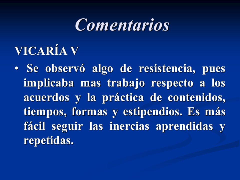 Comentarios VICARÍA V Se observó algo de resistencia, pues implicaba mas trabajo respecto a los acuerdos y la práctica de contenidos, tiempos, formas