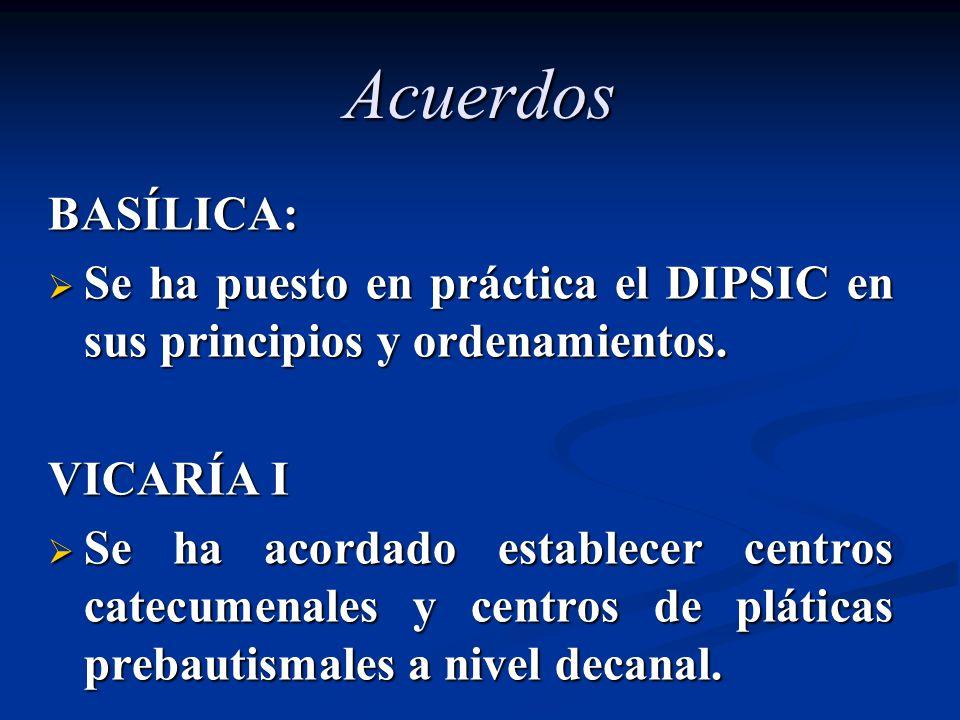 Acuerdos BASÍLICA: Se ha puesto en práctica el DIPSIC en sus principios y ordenamientos. Se ha puesto en práctica el DIPSIC en sus principios y ordena