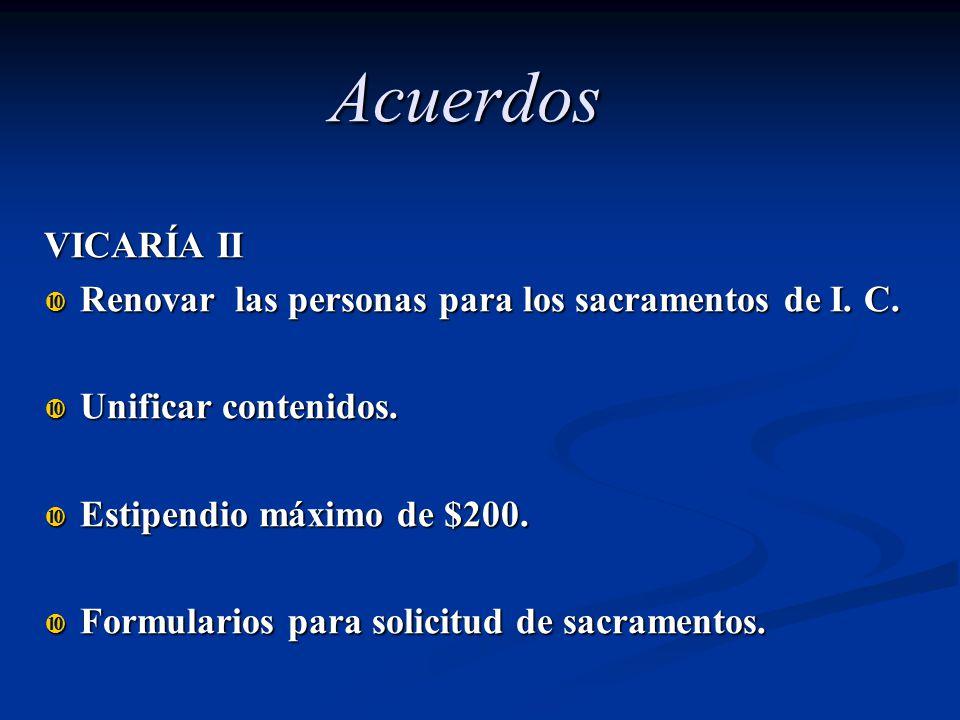 VICARÍA II Renovar las personas para los sacramentos de I. C. Renovar las personas para los sacramentos de I. C. Unificar contenidos. Unificar conteni