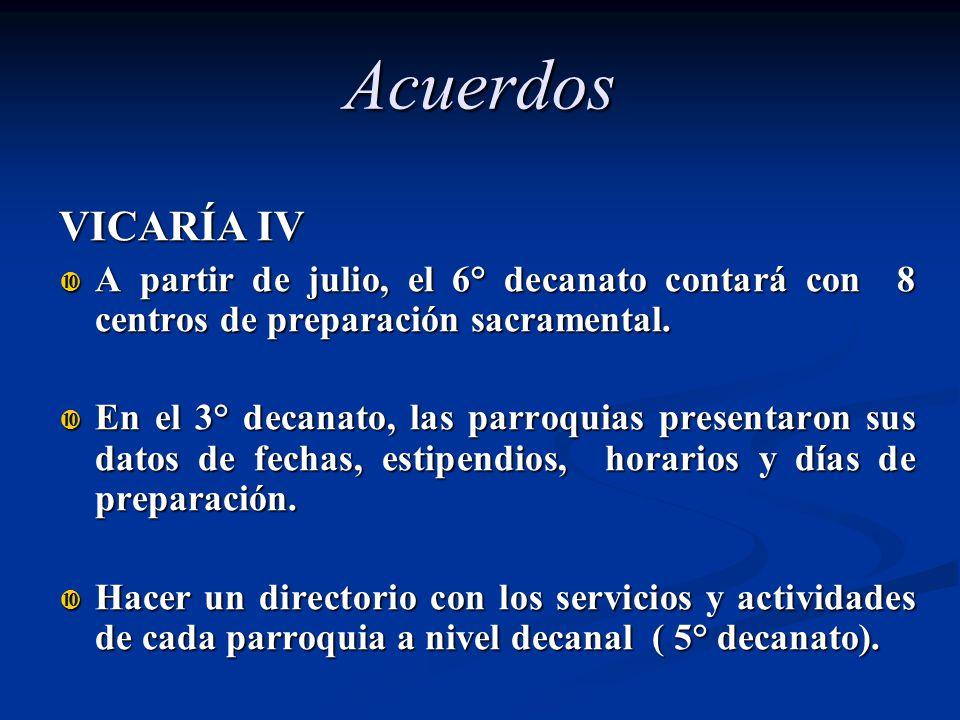 Acuerdos VICARÍA IV A partir de julio, el 6° decanato contará con 8 centros de preparación sacramental. A partir de julio, el 6° decanato contará con