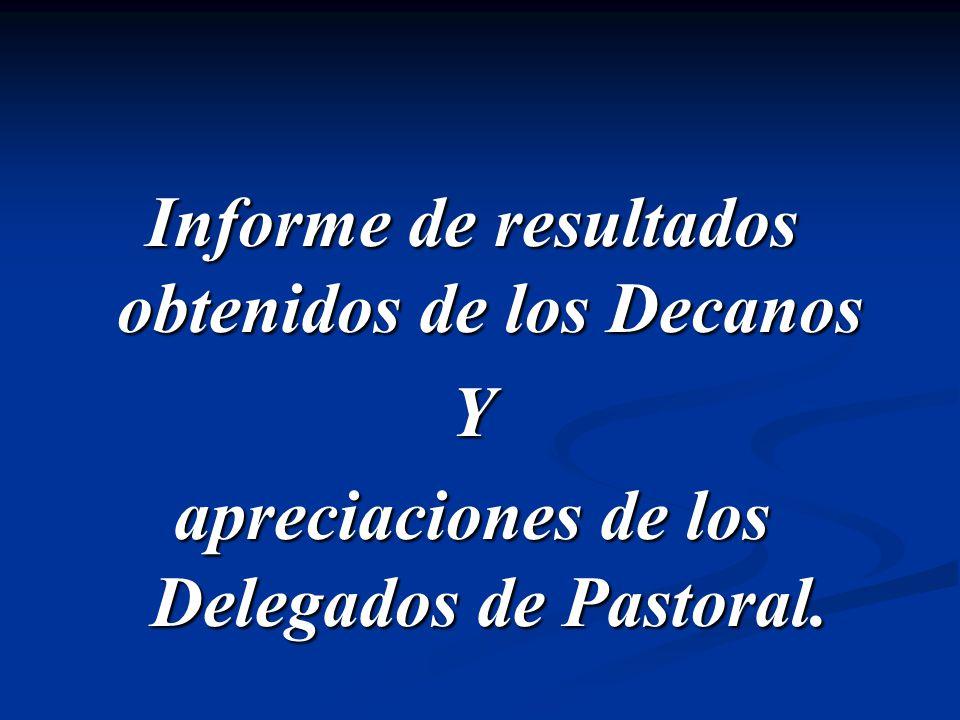 Informe de resultados obtenidos de los Decanos Y apreciaciones de los Delegados de Pastoral.