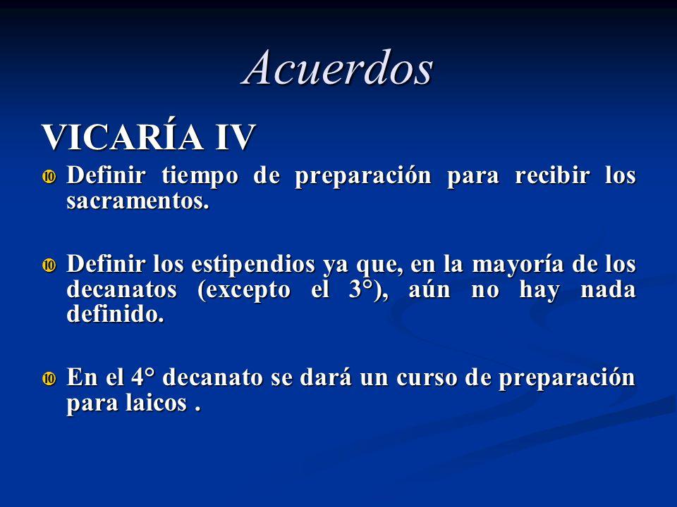 VICARÍA IV Definir tiempo de preparación para recibir los sacramentos. Definir tiempo de preparación para recibir los sacramentos. Definir los estipen