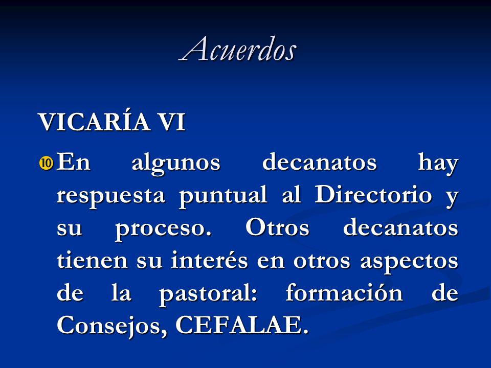 Acuerdos VICARÍA VI En algunos decanatos hay respuesta puntual al Directorio y su proceso. Otros decanatos tienen su interés en otros aspectos de la p