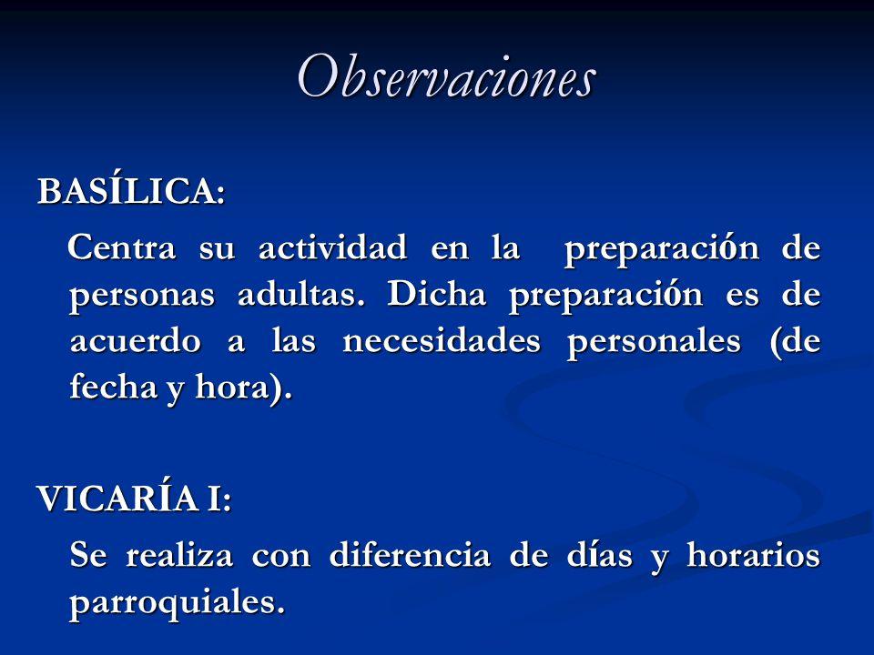 Observaciones BAS Í LICA: Centra su actividad en la preparaci ó n de personas adultas. Dicha preparaci ó n es de acuerdo a las necesidades personales