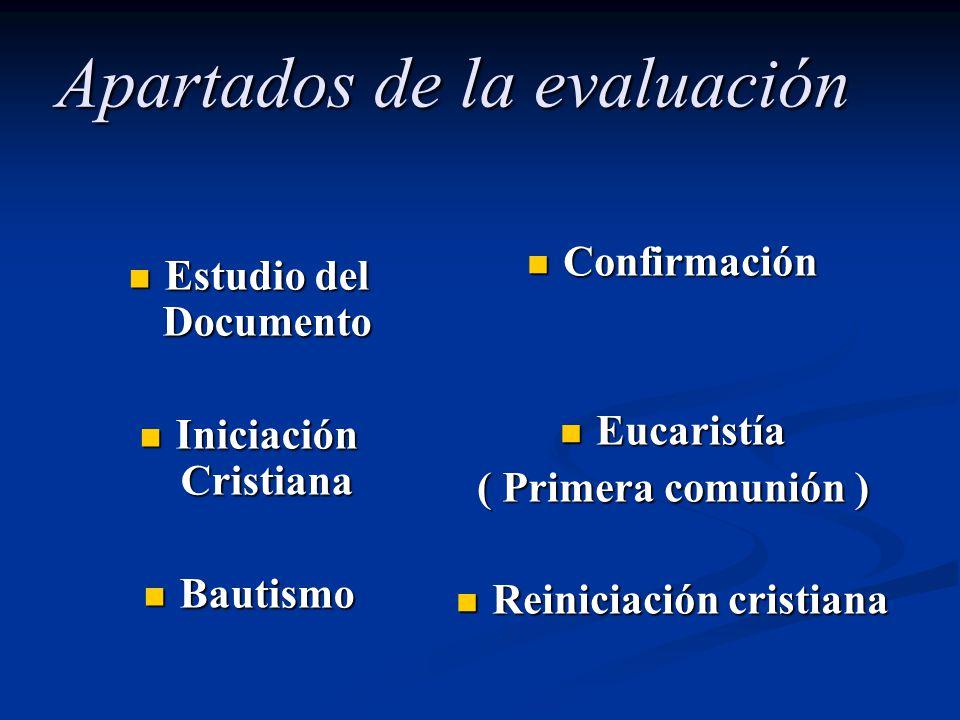 Apartados de la evaluación Estudio del Documento Estudio del Documento Iniciación Cristiana Iniciación Cristiana Bautismo Bautismo Confirmación Eucari