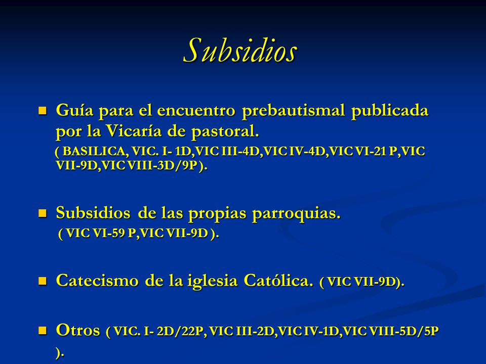 Subsidios Guía para el encuentro prebautismal publicada por la Vicaría de pastoral. Guía para el encuentro prebautismal publicada por la Vicaría de pa