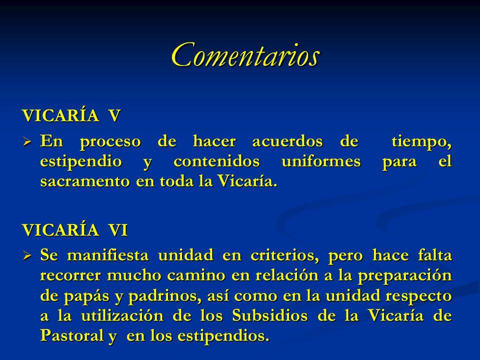 Comentarios VICARÍA V En proceso de hacer acuerdos de tiempo, estipendio y contenidos uniformes para el sacramento en toda la Vicaría. En proceso de h