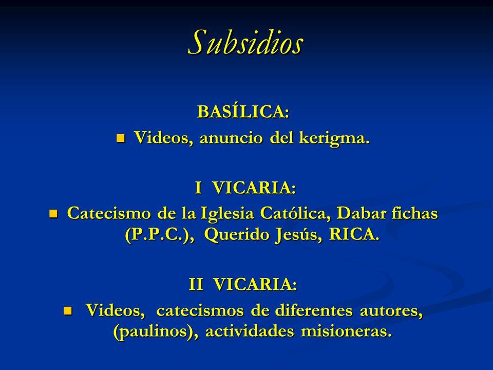 Subsidios BASÍLICA: Videos, anuncio del kerigma. Videos, anuncio del kerigma. I VICARIA: I VICARIA: Catecismo de la Iglesia Católica, Dabar fichas (P.