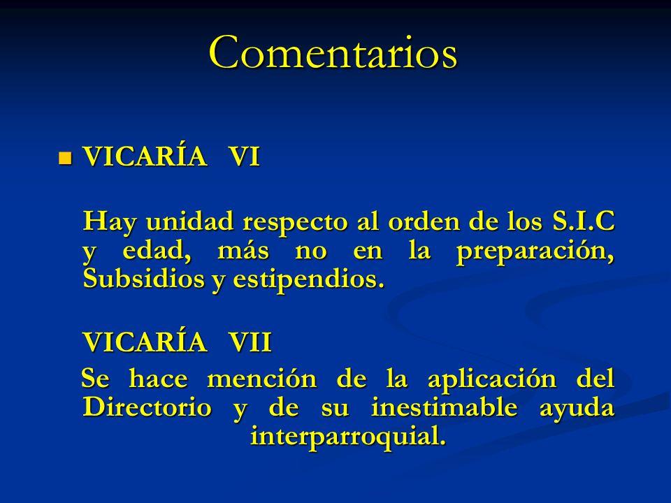Comentarios VICARÍA VI VICARÍA VI Hay unidad respecto al orden de los S.I.C y edad, más no en la preparación, Subsidios y estipendios. VICARÍA VII VIC
