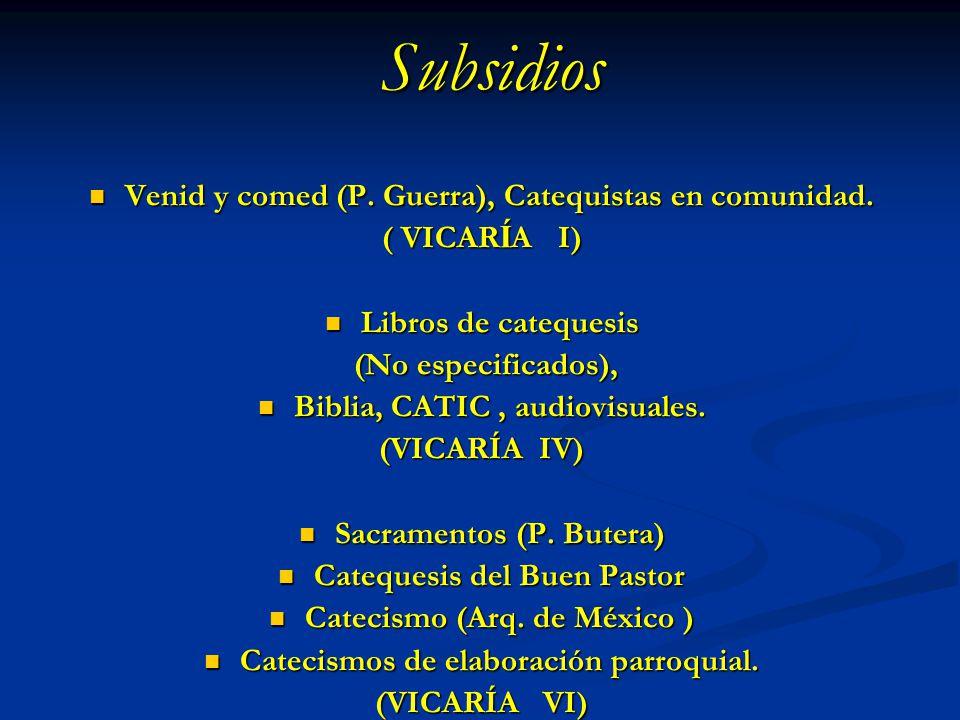 Subsidios Venid y comed (P. Guerra), Catequistas en comunidad. Venid y comed (P. Guerra), Catequistas en comunidad. ( VICAR Í A I) Libros de catequesi