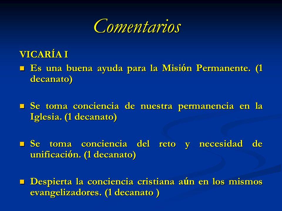Comentarios VICARÍA I Es una buena ayuda para la Misi ó n Permanente. (1 decanato) Es una buena ayuda para la Misi ó n Permanente. (1 decanato) Se tom