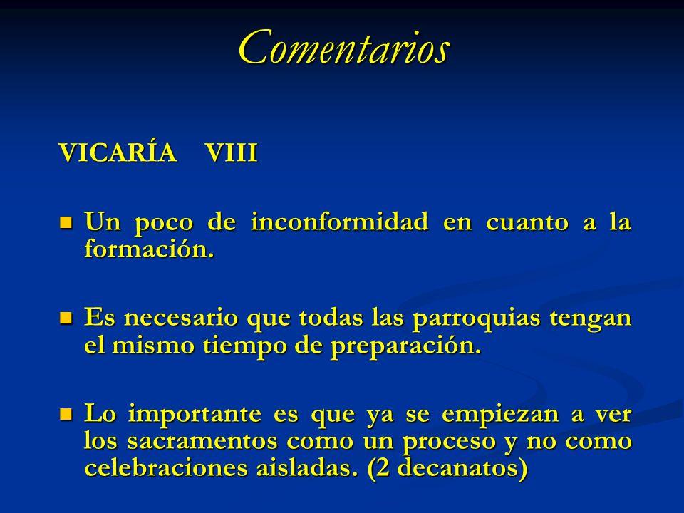 Comentarios VICARÍA VIII Un poco de inconformidad en cuanto a la formación. Un poco de inconformidad en cuanto a la formación. Es necesario que todas