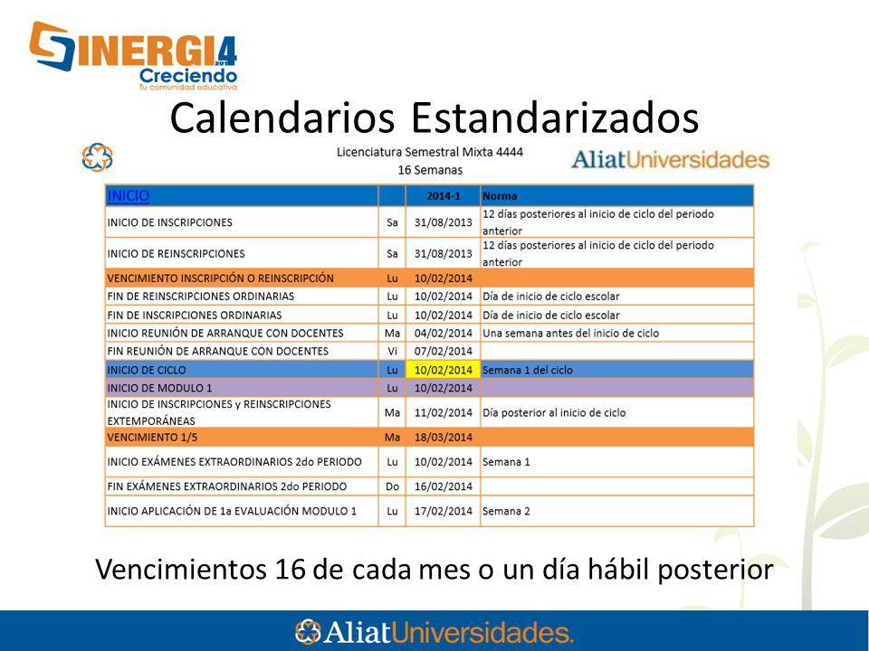 Calendarios Estandarizados Vencimientos 16 de cada mes o un día hábil posterior