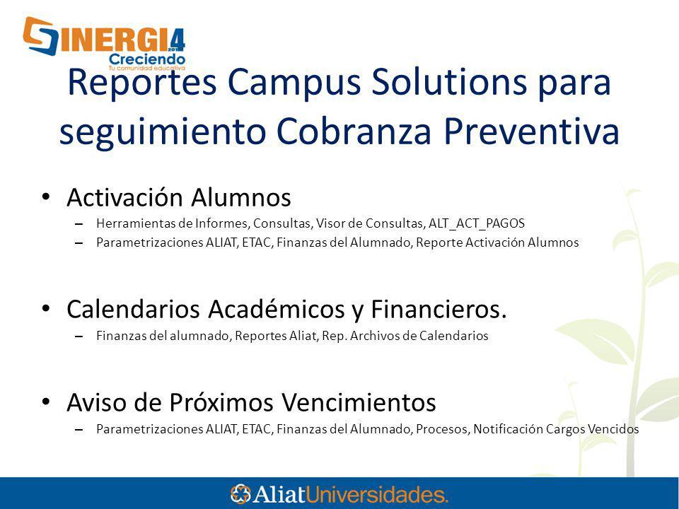 Reportes Campus Solutions para seguimiento Cobranza Preventiva Activación Alumnos – Herramientas de Informes, Consultas, Visor de Consultas, ALT_ACT_P