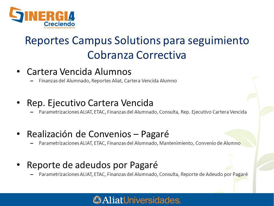 Reportes Campus Solutions para seguimiento Cobranza Correctiva Cartera Vencida Alumnos – Finanzas del Alumnado, Reportes Aliat, Cartera Vencida Alumno