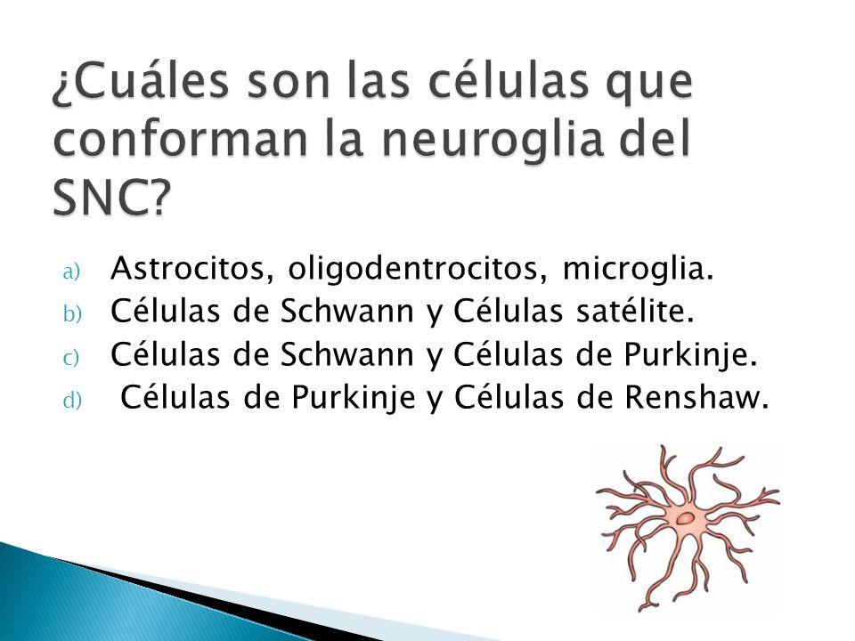 a) Astrocitos, oligodentrocitos, microglia. b) Células de Schwann y Células satélite. c) Células de Schwann y Células de Purkinje. d) Células de Purki