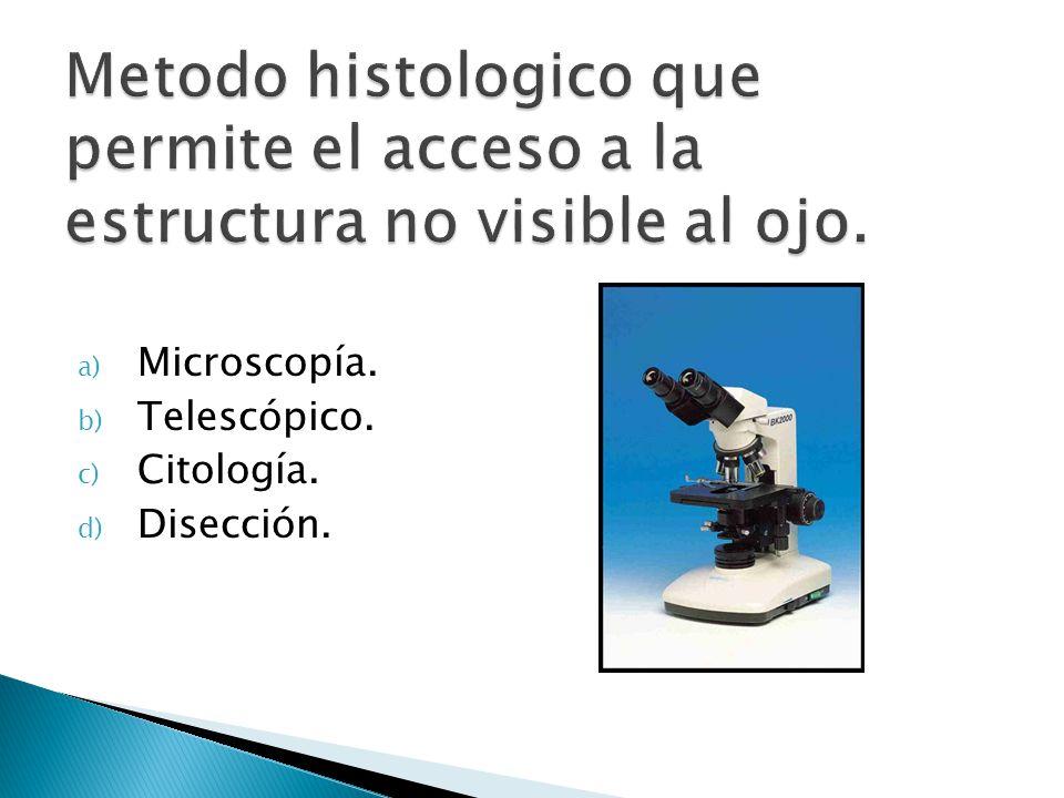 a) Microscopía. b) Telescópico. c) Citología. d) Disección.