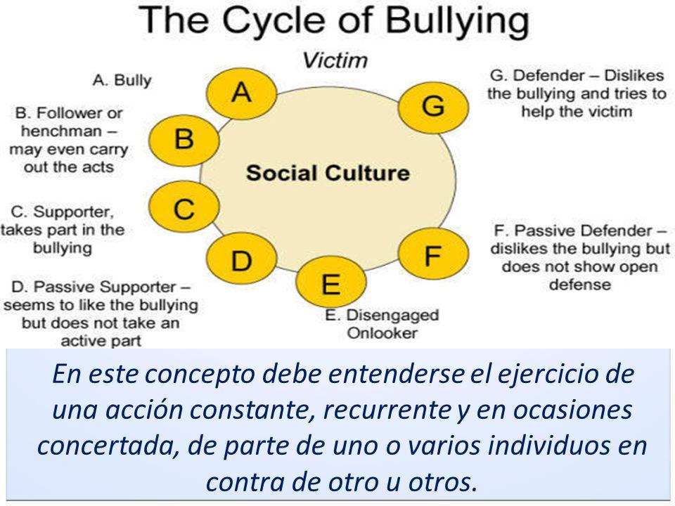 Bullying En este concepto debe entenderse el ejercicio de una acción constante, recurrente y en ocasiones concertada, de parte de uno o varios individ