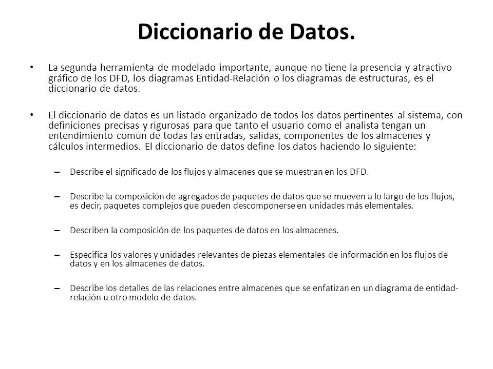 Diccionario de Datos. La segunda herramienta de modelado importante, aunque no tiene la presencia y atractivo gráfico de los DFD, los diagramas Entida